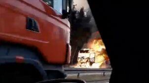 Pożar ciężarówki na S1.