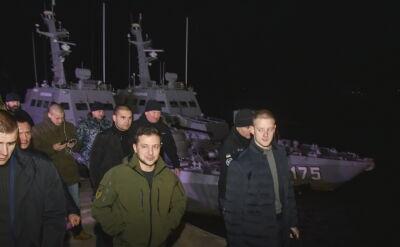 Wołodymyr Zełenski wizytował okręty oddane Ukrainie przez Rosję