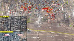 Czerwony kwadrat to kompletna ruina. Strefa Gazy z kosmosu