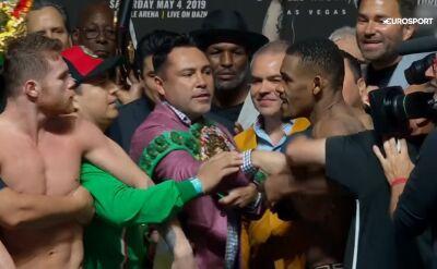 Ważenie przed walką Alvarez - Jacobs. Bokserzy skoczyli sobie do gardeł