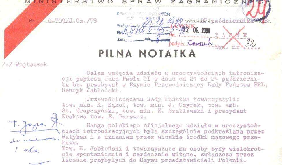 Pierwsza strona notatki Kazimierza Kąkola i Józefa Czyrka o wizycie przewodniczącego Rady Państwa Henryka Jabłońskiego w Rzymie, 27 października 1978 r.