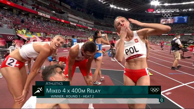 Tokio. Cały bieg eliminacyjny Polski w mieszanej sztafecie 4x400 m