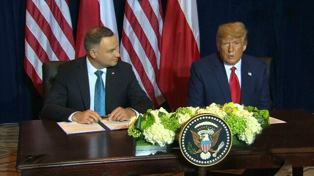 Duda i Trump podpisali deklarację. Prezydent USA: na pewno niebawem udam się do Polski