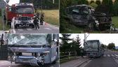 Zderzenie autobusu z samochodem osobowym. Ranne trzy osoby