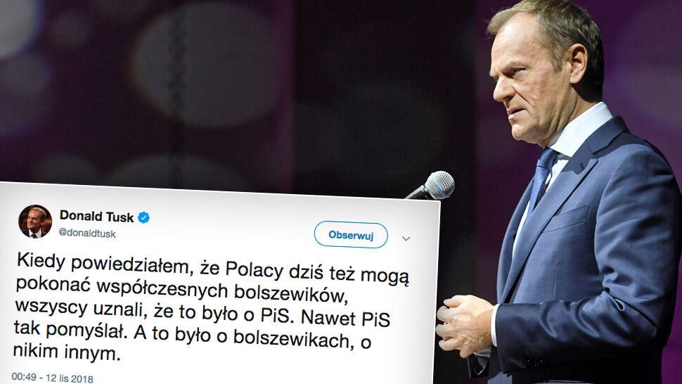 """Tusk o """"bolszewikach"""": Wszyscy uznali,  że to było o PiS. Nawet PiS tak pomyślał"""