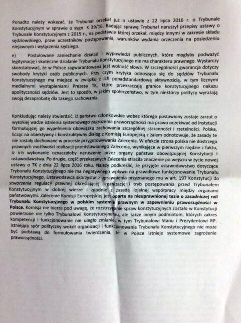 Stanowisko strony polskiej w sprawie Zalecenia Komisji Europejskiej z dnia 27 lipca 2016 roku dot. praworządności w Polsce 10