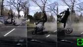 Uderzenie wyrzuciło motocyklistę w powietrze