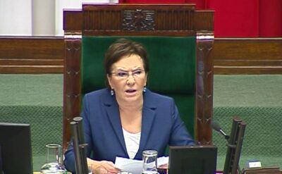 Ewa Kopacz odczytuje oświadczenie Grupińskiego