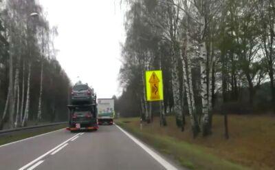 """Lewą stroną omijał wysepkę. Mandaty dla kierowców litewskich tirów po """"wyczynach"""" na drodze"""
