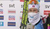 Ingrid Tandrevold po wygranym biegu masowym w Ostersund