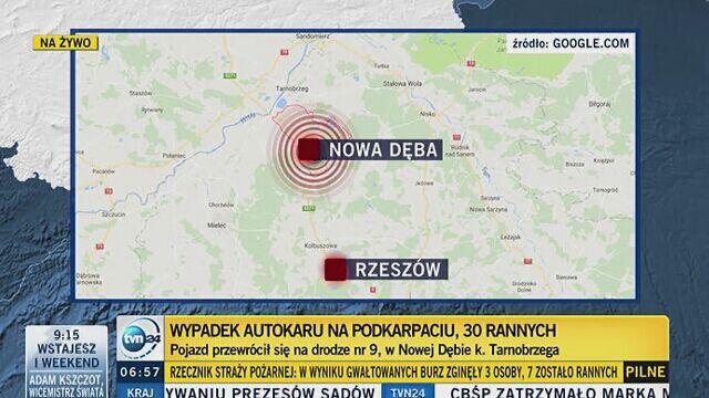 Wypadek Polskiego Busa. Autokar przewrócił się, wielu rannych