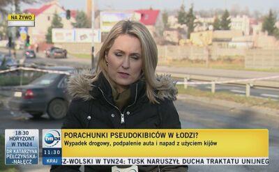 Porachunki kiboli w Łodzi? Spalone auto, wokół rozrzucone maczety