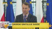 Zaprzysiężenie Andrzeja Dudy 6 sierpnia. Sikorski gratuluje elektowi