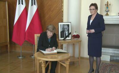 Merkel i Kopacz wpisały się do księgi kondolencyjnej Władysława Bartoszewskiego