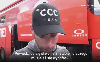 """Kolarz CCC Team wycofał się z Giro d'Italia. """"Moje ciało nie funkcjonowało odpowiednio"""""""