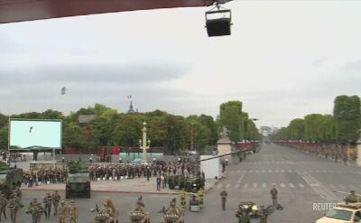 """""""Latający żołnierz"""" przeleciał nad Polami Elizejskimi w czasie wojskowej parady w Paryżu"""