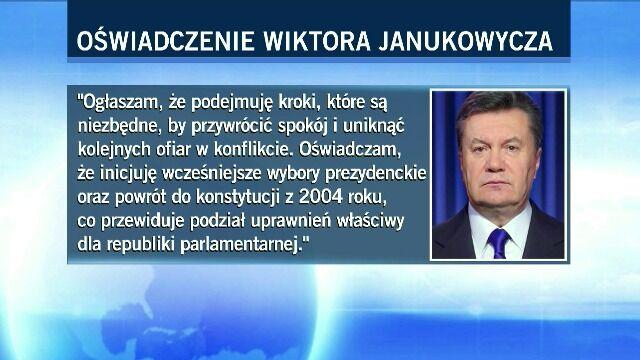Janukowycz ogłasza: będą przyspieszone wybory, zmiana konstytucji i nowy rząd