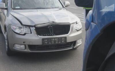 Kolizja auta SOP na moście Łazienkowskim