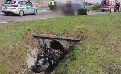 Motocyklista wjechał do rowu, nie żyje