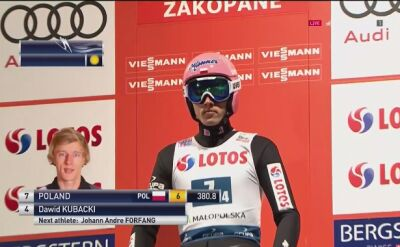 Skok Dawida Kubackiego z 1. serii konkursu drużynowego w Zakopanem