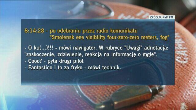 Fragmenty stenogramu opublikowane przez RMF FM