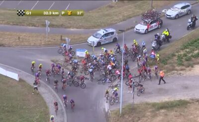 Karambol na 2. etapie Tour de Wallonie