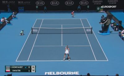 Skrót meczu Świątek - Kontveit w 4. rundzie Australian Open