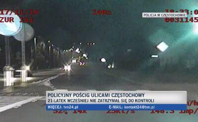 Policyjny pościg za 21-letnim kierowcą w Częstochowie