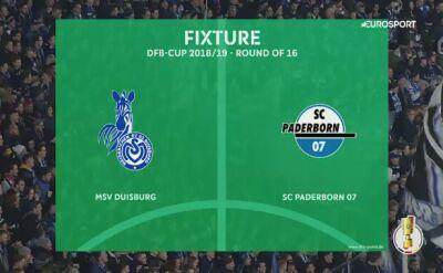 Skrót meczu Duisburg - Paderborn w 3. rundzie Pucharu Niemiec