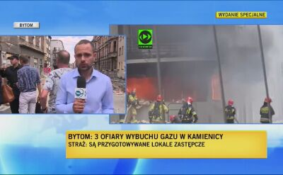 Reporter TVN24 zbiera na miejscu informacje na temat zdarzenia