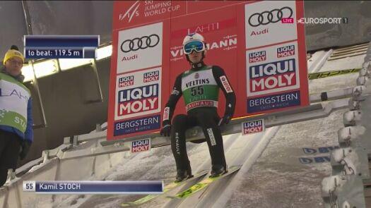 Pierwszy skok Kamila Stocha z niedzielnego konkursu w Lahti