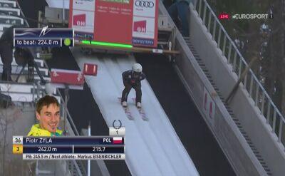 Skok Piotra Żyły z drugiej serii konkursu w Planicy