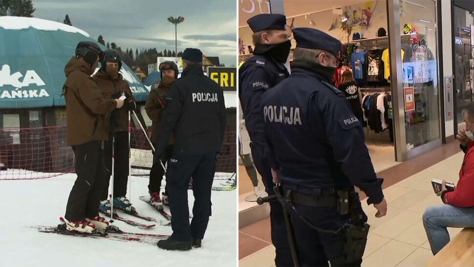 """Ruszyły kontrole policji w galeriach i na stokach narciarskich. """"Ten weekend będzie wielkim testem"""""""