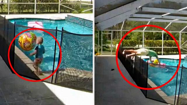 Mały chłopiec wpadł do basenu,  ojciec zareagował błyskawicznie