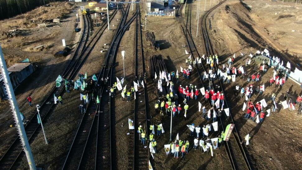 Górnicy zablokowali tory w Sławkowie w proteście przeciwko importowi węgla z Rosji