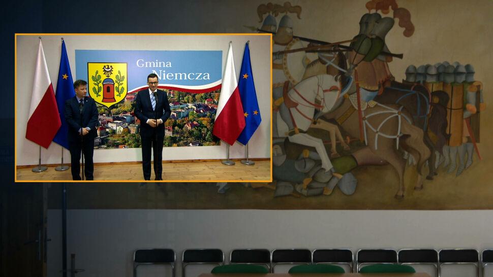 """""""Diametralne zmiany"""" przed wizytą premiera. Zamalowany fresk w Niemczy"""