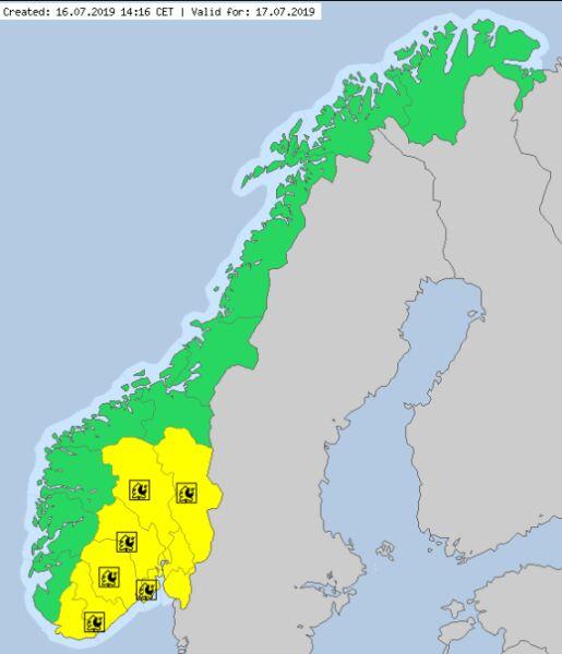 Ostrzeżenia meteorologiczne w Norwegii (meteoalarm.eu)