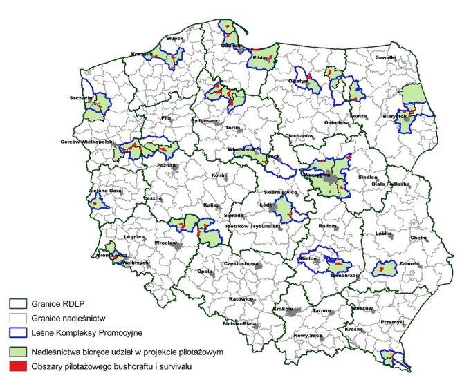 Mapa obszarów dla bushcraftu i survivalu (Lasy Państwowe)