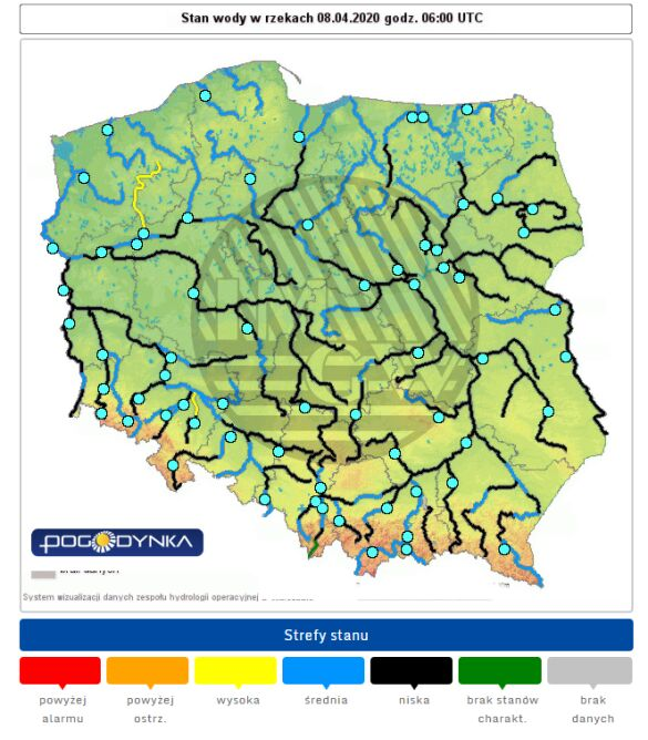 Stan wody w rzekach 8 kwietnia o godzinie 8 (pogodynka.pl/polska/hydro)