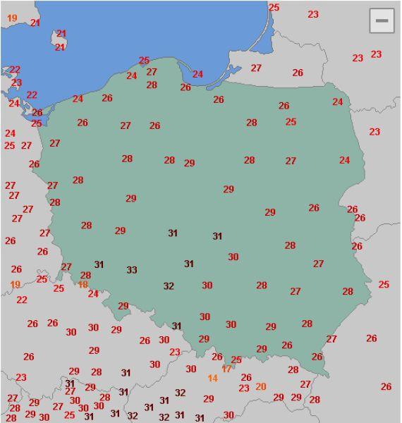 Maksymalna temperatura w czwartek w Polsce
