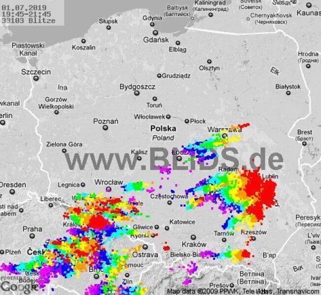 Ścieżka burz w godzinach 19.45-21.45 (blids.de)