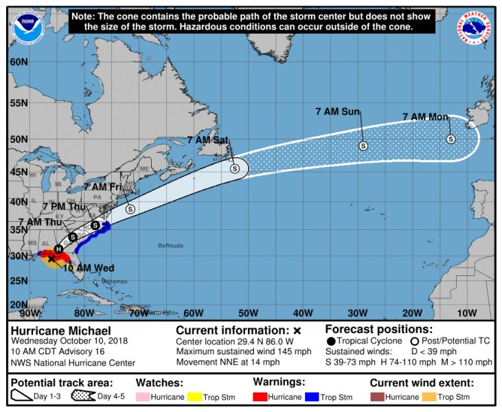 Prognozowana trasa huraganu Michael (NOAA, NHC)